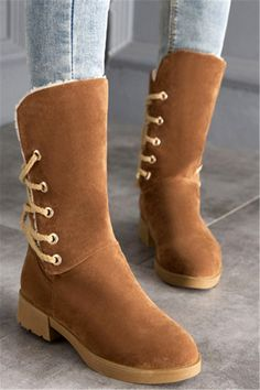 $35.15 Back Lace-Up Low Heel Suede Mid-Calf Boots