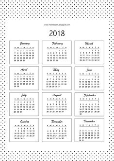 FREE printable bullet journal calendar cards 2018