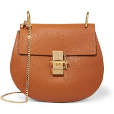 Chloé Drew small textured-leather shoulder bag ($1,850) ❤ liked on Polyvore featuring bags, handbags, shoulder bags, purses, borse, sac, light brown, brown shoulder bag, purse shoulder bag and shoulder bag handbag