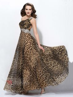 Special A-Line One-Shoulder Leopard Print Crystal Floor-Length Prom Dress Designed Independently Prom Dress 2014, Strapless Dress Formal, Prom Dresses, Dresses 2014, Designer Evening Dresses, African Dress, Beautiful Gowns, Dress Patterns, Dresses Online