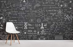 Create a chemistry-inspired fun & educational kids bedroom feature wall with our cool science chalkboard wallpaper mural. Blackboard Wall, Chalk Wall, Chalkboard Wall Bedroom, Chalk Board, Chalkboard Decor, Kids Wallpaper, Wall Wallpaper, Closet Wallpaper, Alphabet Wallpaper