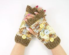 Knitted+fingerless+gloves+brown+knitted+arm+warmers+by+piabarile,+$29.00