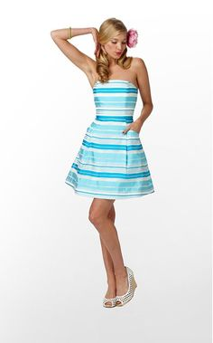The Blossom Dress in Turquoise Wrapping Stripe $238 (w/o 3/11/12) #lillypulitzer #fashion #style