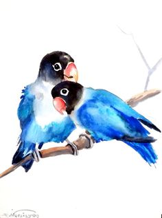 Lovebirds Original watercolor painting 12 X 9 in by ORIGINALONLY, $26.00