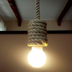 Jute long pendant light made from sailing rope 90 cm 36 by StyLova