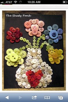 Arty Vase of Button Flowers - fun, simple crafty project with buttons! Bee Crafts, Diy And Crafts, Crafts For Kids, Arts And Crafts, Diy Buttons, Vintage Buttons, Button Art, Button Crafts, Craft Projects