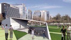 Proyecto Piscina Temperada Juan Pablo Segundo para Comuna de Las Condes, Santiago, Chile, premiado desarrollado por Arquitectos de Oficina Creaespacio
