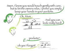 63 hands in pockets- you've got a serial toucher like my son? What works best for us is this mix of positive trust talk, mention of others's feelings, a precise mission for his hands, and a one-word...