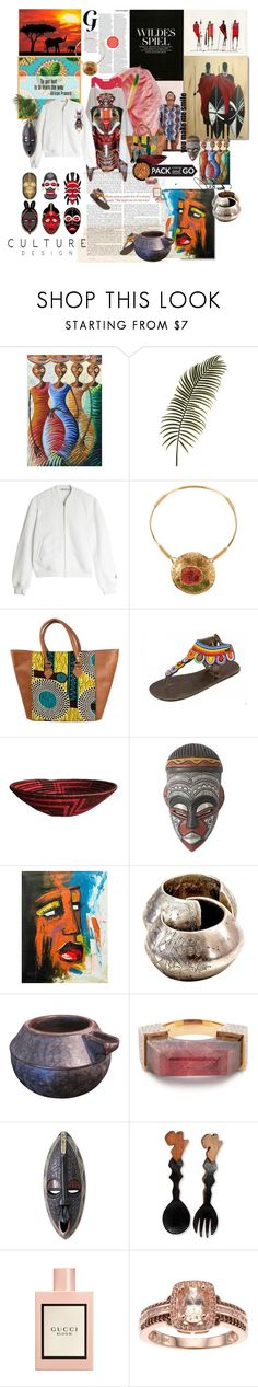 """warm ray of sunshine"" by la-rosy ❤ liked on Polyvore featuring Sézane, NOVICA, T By Alexander Wang, Yves Saint Laurent, Jade Jagger, Gucci, YSL, AlexanderWang, gucci and africa"