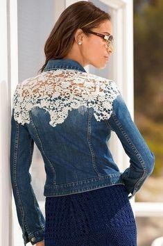Jeans Recycling, Denim Ideas, Denim Crafts, Altered Couture, Denim And Lace, Black Denim, Blue Jeans, Embellished Jeans, Lace Jacket
