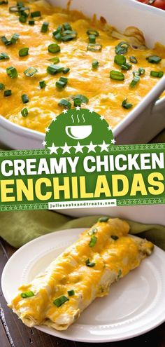 Once you try this easy dinner recipe for your family, everyone will show up whenever it is on the menu! Stuffed with green chiles then topped with a creamy sauce cheese, these baked chicken enchiladas will become a favorite. Enjoy this easy weeknight dinner again and again! Easy Dinner Recipes, Easy Recipes, Cooking Recipes, Lunch Ideas, Dinner Ideas, Baked Chicken, Chicken Recipes, Creamy Chicken Enchiladas, Creamy Sauce