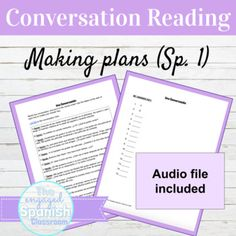 Spanish Weekend Plans Conversation Reading with Audio for Distance Learning Spanish Activities, Teaching Spanish, Reading Activities, Study Spanish, Spanish 1, Spanish Class, Spanish Conversation, Middle School Spanish, Teacher Lesson Plans