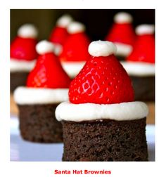 Santa Hat Brownies - quick and easy dessert idea