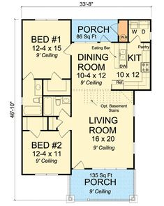 Granny pods addition Plan Two Bedroom Starter Home Plan Two Bedroom Tiny House, Two Bedroom Floor Plan, 2 Bedroom House Plans, Small House Floor Plans, Cottage Style House Plans, Cottage Plan, Cottage Style Homes, Condo Floor Plans, The Plan