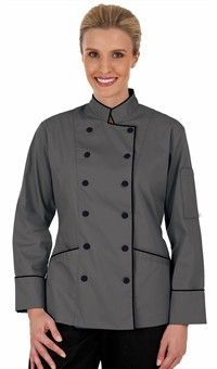 Women's Traditional Fit Chef Coat with Piping - Fabric Covered Buttons - 65/35…