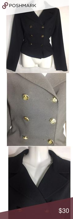 Cabi #690 military style blazer Sz 6 navy Classic military-style black poly blend blazer with lions-head button detail, silky lining with pattern inside back of jacket. Like new, and hardly worn! CAbi Jackets & Coats Blazers