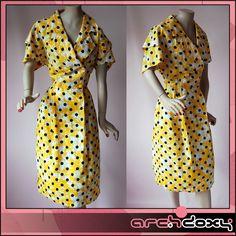 Vintage 1980s Yellow Peril Polka Dot Silky Coat Dress - http://www.ebay.co.uk/itm/Vintage-1980s-Yellow-Peril-New-Wave-Shoulder-Pad-Polka-Dot-Silky-Coat-Dress-UK12-/371625483929 #vintagedress #vintagestyle