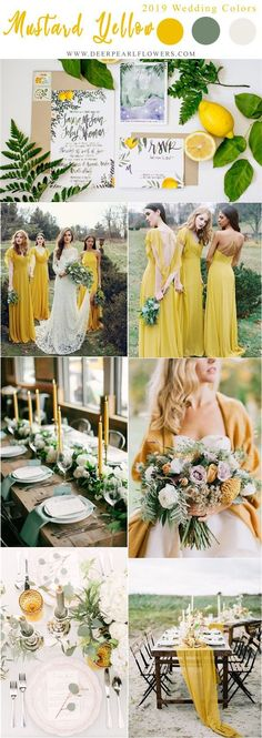 Top 10 Ideas for Wedding Color Schemes for 2019 Trends - Hochzeitsfarben - Home Yellow Wedding Colors, Best Wedding Colors, Wedding Color Schemes, Wedding Themes, Wedding Decorations, Wedding Ideas, Mustard Yellow Wedding, Mustard Wedding Theme, Magenta Wedding