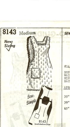 1950s Full Apron Pattern Mail Order by TheSewingGin on Etsy, $10.00