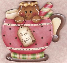 Sweet Cocoa Gingerbread Ornament Blank, The Decorative Painting Store This is a Pamela House design Gingerbread Ornaments, Gingerbread Decorations, Christmas Gingerbread, Christmas Decorations, Pink Christmas, Christmas Time, Christmas Crafts, Christmas Ornaments, Pinterest Pinturas