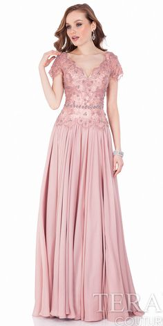 Terani Couture Embellished Lace & Chiffon Gown available at Pink Evening Gowns, A Line Evening Dress, Sequin Evening Dresses, Pink Gowns, A Line Gown, Prom Dresses, Formal Dresses, Sequin Dress, Bride Dresses