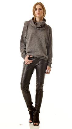 ISABELLE / / tricot oversize femme pull pull - gris de col - alpaga - noir amovible col roulé côtelé - printemps
