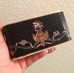 Vintage Neiman Marcus Black Porcelain Gold Notepad Pen Holder Floral Ribbons VTG  Up for bid! $9.99