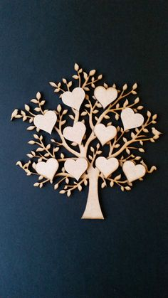 Laser cut MDF Family Trees and Hearts by DanksyArtsCrafts on Etsy