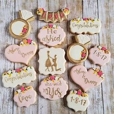 The Most Adorable Wedding & Engagement Cookies For Your Sweet Tooth Engagement and Hochzeitskleid - Engagement Party Cookies, Engagement Party Planning, Engagement Party Decorations, Wedding Engagement, Fancy Cookies, Royal Icing Cookies, Custom Cookies, Owl Cookies, Sugar Cookies
