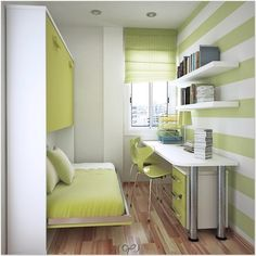 Cozy Desk for Small Bedroom at Home — Design and Decor Ideas Small Bedroom Office, Very Small Bedroom, Small Bedroom Designs, Small Room Design, Single Bedroom, Trendy Bedroom, Girls Bedroom, Bed Design, Desks For Small Spaces