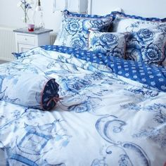 PIP Bettwäsche Toile DE PIP Blue Blau Pagode Garten Vögel Blüten Blumen Romantik | eBay