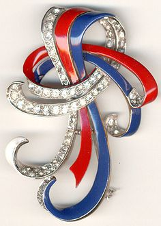 MB Boucher WW2 US Patriotic Red White and Blue Bowknot Pin ca 1941-42