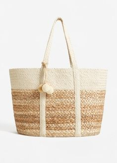 Jute basket bag -  Woman | MANGO Greece
