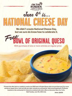 FREE Queso at On the Border TODAY!!!!(6/4/13)