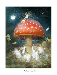 ≍ Nature's Fairy Nymphs ≍ magical elves, sprites, pixies and winged woodland faeries - Midsummer's Eve Midsummer's Eve, Flower Fairies, Fairy Art, Magical Creatures, Pics Art, Nursery Prints, Artist Painting, Moon Painting, Fantasy Art