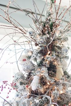Christmas Tree Decor - use branches to decorate a Christmas tree