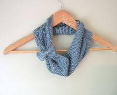 Blue Bow Infinity Scarf in Vegan Silk Bamboo / Eco Fashion Eternity Scarf on Etsy, $48.00