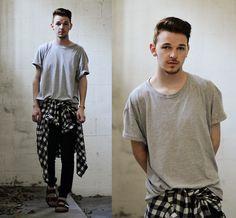 Goodwill Grey Tee, Flannel, Zara Knit Trousers, Birkenstocks Black Leather Sandals