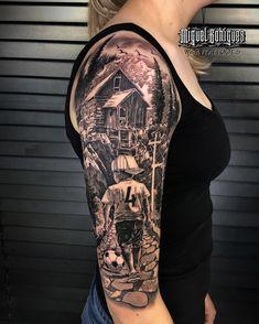 Wolf Tattoo Sleeve, Best Sleeve Tattoos, Tattoo Sleeve Designs, Tattoo Script, S Tattoo, Color Tattoo, Soccer Tattoos, Football Tattoo, Full Leg Tattoos