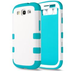 Color: 3in1-White/Blue Galaxy S3 Case S3 Case ULAK® Hybrid Impact 3 Layer Hard Case Cover with Silicone Shell Inside Case for Samsung Galaxy S3 i9300(White/Blue)