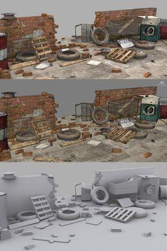 Props by mark wilks on ArtStation. Blender 3d, Blender Models, Game Level Design, Game Design, Post Apocalyptic City, Maya Modeling, Apocalypse Art, Modelos 3d, Game Concept Art