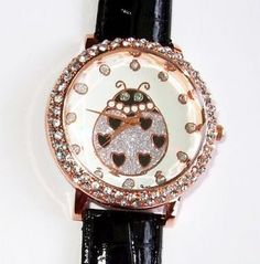 New Rose Gold Black Croc Band Ladybug Bling Watch | eBay