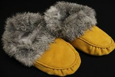 Classic Womens Moose Hide and Grey Rabbit Fur Moccasins Made By Artists At The Native Art Gallery. Visit our Site for more Moccasins www.kitigan.com #NDN #FirstNations #Indigenous