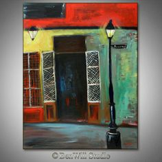 LARGE Colorful Abstract Painting ORIGINAL Modern Art - New ORLEANS French Quarter City Art on Large Canvas 36x28 by BenWill. $380.00, via Etsy.