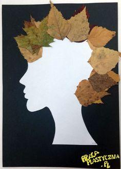 Jesienna Dama jesienne liście białe i czarne kartki z bloku technicznego szablon profilu twarzy klej