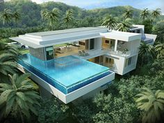 Property & Real Estate in Koh Samui House Plans With Pictures, Beachfront House, Long House, House On Stilts, Backyard Pool Designs, Weekend House, Luxury Pools, Modern Mansion, Dream House Exterior