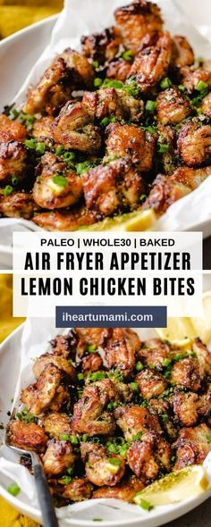Air Fryer Lemon Chicken Bites with marinated chicken thighs air fried to golden crispy! No breading and starch and totally lemony delicious! #airfryerrecipes #chickenrecipes #airfryerchicken #lemonchicken #chickenbites #ketorecipes Chicken Thigh Recipes Oven, Chicken Bites, Baked Chicken Recipes, Healthy Chicken, Oven Chicken, Keto Chicken, Healthy Meals, Healthy Food, Lemon Chicken Thighs