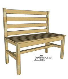 Wood slat bench with back plans. Make your won garden bench. MyRepurposedLife.com