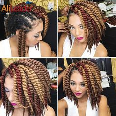 "Easy To Install Havana Twist Hair Crochet Braids #1B/1/2/27/30/Burgundy Synthetic Braiding Bulk Hair Extentions 12"" 12Roots/Pack"