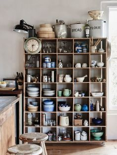 vintage open shelves